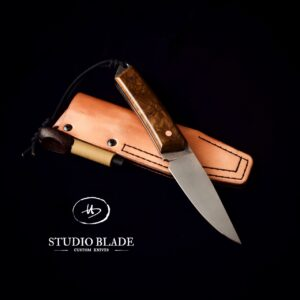TRAPPER carbon steel bushcraft knife brown Juma