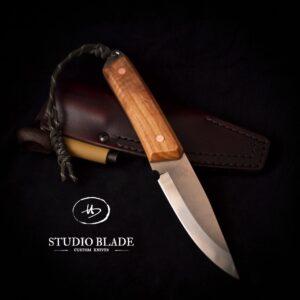 TRAPPER carbon steel bushcraft knife Olive wood handle and scandi grind