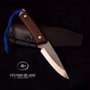TRAPPER carbon steel bushcraft knife Wengé handle and scandi grind